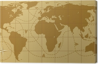 Vector retro world map with compass rose poster pixers we live vector retro world map with compass rose canvas print gumiabroncs Choice Image