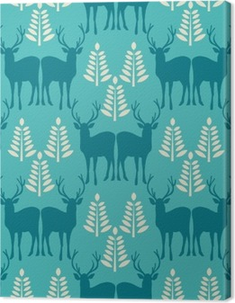 Vector seamless Christmas pattern with deer. Canvas Print