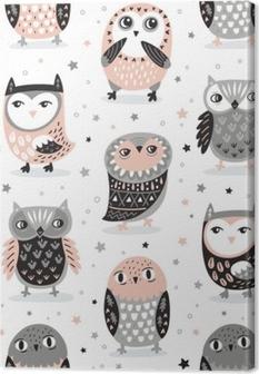 Vector seamless pattern with cartoon owls. Nursery decor Canvas Print