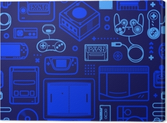 Vector seamless pattern with oldschool gaming objects. Color schematic lines. Canvas Print