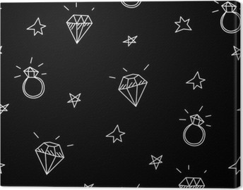 Vector seamless pattern with wedding rings, stars and jewels . Old school tattoo elements. Hipster style Canvas Print