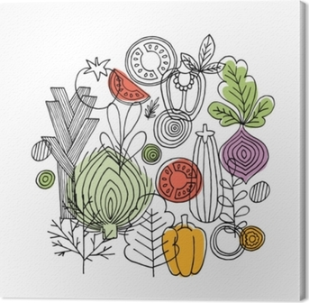 Vegetables round composition. Linear graphic. Vegetables background. Scandinavian style. Healthy food. Vector illustration Canvas Print