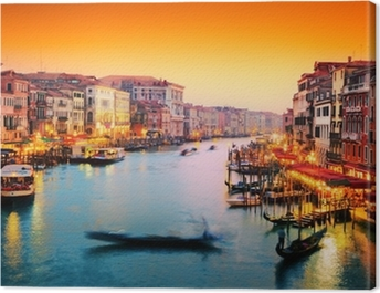 Venice, Italy. Gondola floats on Grand Canal at sunset Canvas Print