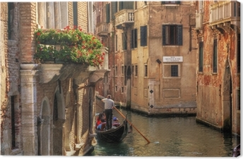 Venice, Italy. Gondola on a romantic canal. Canvas Print