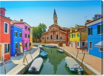 Venice landmark, Burano canal, houses, church and boats, Italy Canvas Print