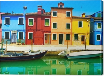 Venice landmark, Burano island canal, colorful houses and boats, Canvas Print