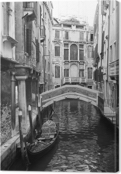 Venice view in black and white canvas print