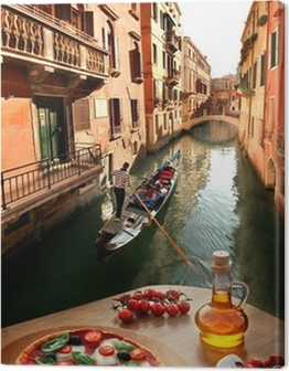Venice with Italian pizza against canal in Italy Canvas Print