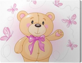 Very cute Teddy Bear waiving hello Canvas Print