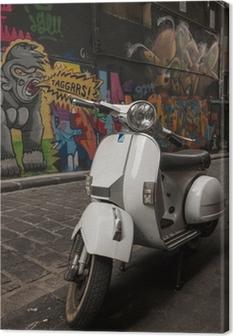 Vespa scooter parked in Hosier Lane, Melbourne Canvas Print