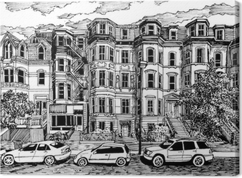 Victorian townhouses front view Canvas Print