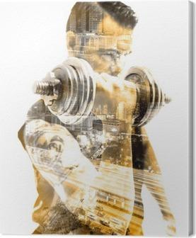 Vida saludable y deporte.Gimnasia ,fitness y entrenamiento con pesas.Doble exposicion Canvas Print