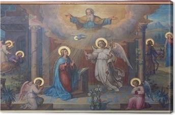 Vienna - Annunciation fresco in Carmelites church Canvas Print