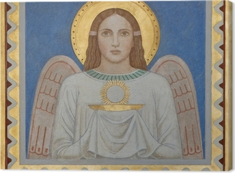 Vienna - Fresco of symbolic angel with the Eucharist Canvas Print
