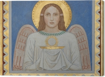 Vienna - Fresco of symbolic angel with the Eucharist Canvas Print