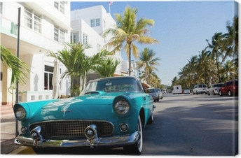 View of Ocean drive with a vintage car Canvas Print