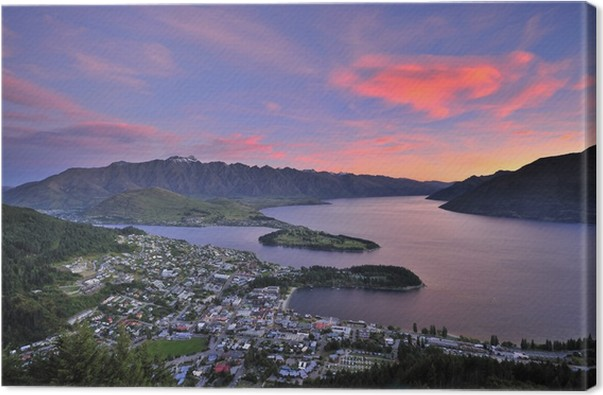 View of queenstown new zealand at dusk canvas print