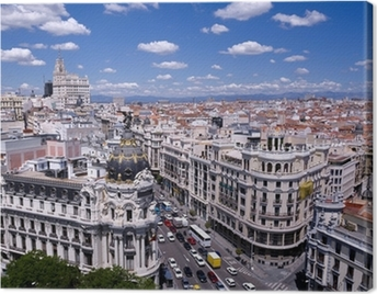 View of the Gran Via of Madrid (Spain) Canvas Print