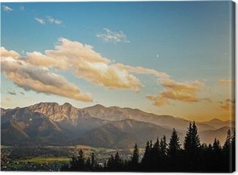 View on panorama of Tatras at sunset, Poland. Canvas Print