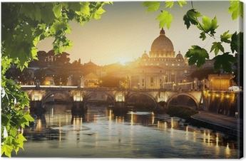 view on Tiber and St Peter Basilica in Vatican Canvas Print