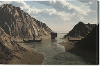 Viking Longships in Icelandic Inlet Canvas Print