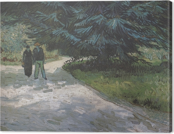 Vincent van Gogh - A couple in the park with blue firs Canvas Print - Reproductions