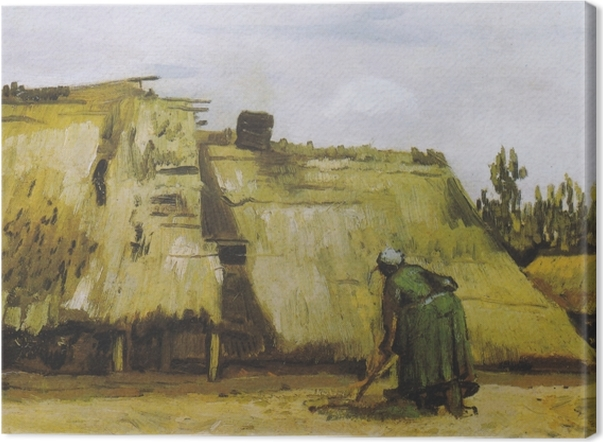 Vincent van Gogh - A Peasant Woman Digging in Front of Her Cottage Canvas Print - Reproductions