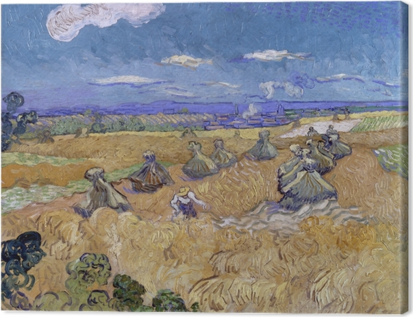 Vincent van Gogh - Wheat Field with Reaper Canvas Print - Reproductions