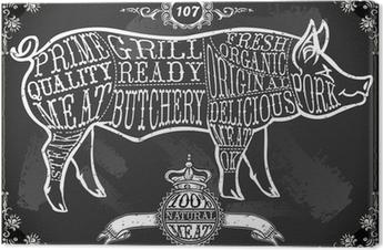 Vintage Blackboard Cut of Pork Canvas Print