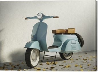 Vintage blue motorcycle vespa, by wall with fallen leaves Canvas Print