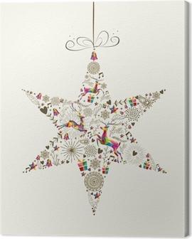 Vintage Christmas star bauble greeting card Canvas Print