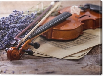 Vintage composition with violin and lavender Canvas Print