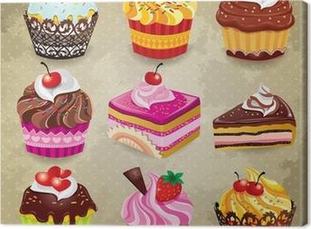 Vintage cupcake set Canvas Print