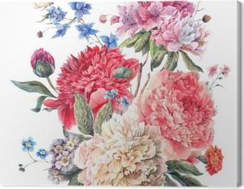 Vintage Floral Greeting Card with Blooming Peonies Canvas Print