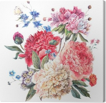 Vintage Floral Greeting Card with Blooming Peonies Canvas Print