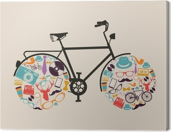 Vintage hipsters icons bike. Canvas Print