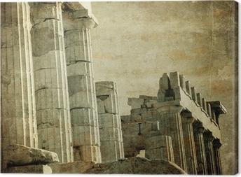 Vintage image of greek columns, Acropolis, Athens, Greece Canvas Print