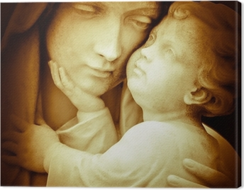 Vintage image of the virgin Mary carrying baby Jesus Canvas Print
