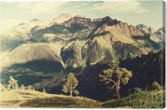 Vintage landscape with trees and mountains Canvas Print