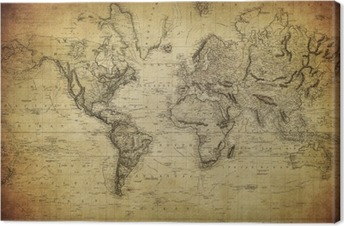 vintage map of the world 1814.. Canvas Print