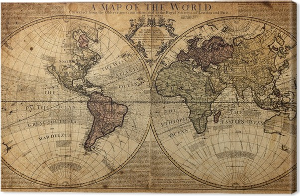 vintage map of the world Canvas Print • Pixers® • We live to change