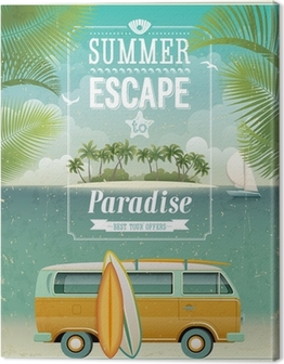Vintage seaside view poster with surfing van. Vector background. Canvas Print