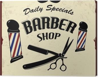 Vintage Styled Barber Shop Canvas Print