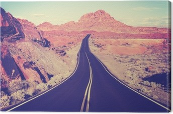 Vintage toned curved desert highway, travel concept, USA Canvas Print