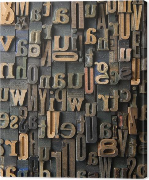 Vintage Wooden Letters Composition Canvas Print Pixers