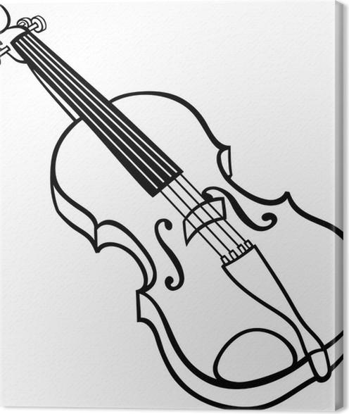 Violin Cartoon Illustration Coloring Page Canvas Print