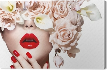 Vogue style model girl face with roses. Red Sexy Lips and Nails. Canvas Print