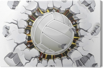 Volleyball and Old Plaster wall damage. Vector illustration Canvas Print