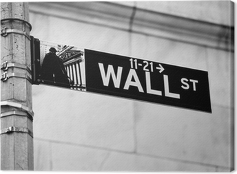 Wall Street road sign in the corner of New York Stock Exchange Canvas Print