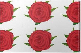 Wallpaper Pattern With Of Red Roses On White Background Canvas Print